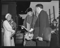 Eleanor Roosevelt with R. F. Sparks of the WPA at Central Station during a visit, Los Angeles, 1935
