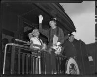 Eleanor Roosevelt waving at Central Station with Malvina Thompson and Mayris Chaney, Los Angeles, 1935