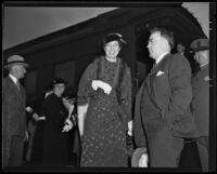 Eleanor Roosevelt at Central Station with secretary Malvina Thompson in the background, Los Angeles, 1935