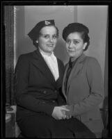Mary Lou Powell helps Marjorie Otis contest her divorce, Los Angeles, 1935