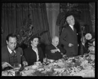 Rabbi Edgar F. Magnin, Gladys Swarthout, L. E. Behymer, and Dr. Rufus B. von KleinSmid at luncheon honoring Behymer, Los Angeles, 1935