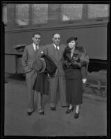Dr. A. H. Giannini, Leontine Giannini, and Bernard Giannini arrive in California, Los Angeles, 1935