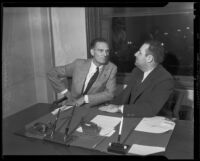 Blayney Matthews discusses extortion case with Dr. G. M. Sweeney, Los Angeles, 1935