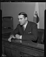 Ken Maynard, actor, testifies in court, Los Angeles, 1935