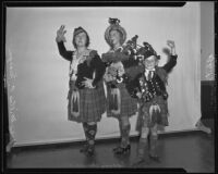 Mrs. Milton E. Morgan, Bessie Chandler, and Robert Meyers, dancer and bagpipers, Los Angeles, 1935