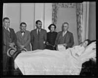 Shooting victim Golda Draper visited by Judge Chambers and others, Los Angeles, 1935