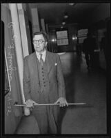 Rupert Hughes, witness in the Earl Taylor case, Los Angeles, 1935