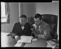 Major-General Ting-Hsiu Tu visits Judge Samuel Blake, Los Angeles, 1935