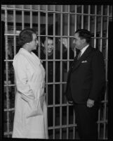 Vada Sullivan, Isobel Steele, and Sheriff Gene Biscailuz at the County Jail, Los Angeles, 1935