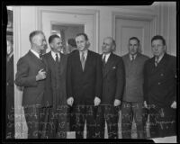 Colonel D.H. Connolly, Archibald B. Young, Harry L. Hopkins, Robert H. Hinckley, Ray W. Piling, and Frank Y. McLaughlin discuss government-assistance jobs, Los Angeles, 1935