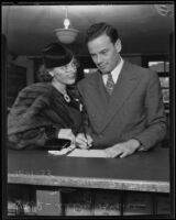 Sally Blane and Norman Foster apply for a marriage license, Los Angeles, 1935