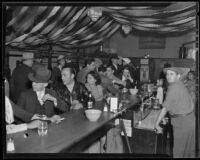 Beer parlor at Temple and Figueroa during a police raid, Los Angeles, 1935