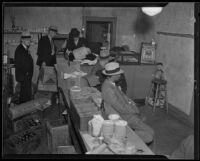 Police raid beer parlor on Central Avenue, Los Angeles, 1935
