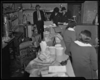 Police raid beer parlor on Central Avenue, Los Angeles, 1935