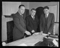 Major Theodore Wyman, Jr., Major General Edward Markham, and Colonel Thomas H. Jackson analyze WPA plans, Los Angeles, 1935