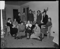 A meeting of the Pasadena Junior League with Mrs. Wardle Poulson, Mary Ford, Louise Hunter, Mary Stringfellow, Mary Rath, Mrs. Jerome Bishop Jr., Alice Kerckhoff, Gwenllian Hamblin, Lucetta A. Clifford, Elizabeth Washburn, and Ann Wyman, Pasadena, 1935