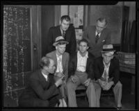 Kenneth Milster confronts kidnappers with Detective Lieutenant Harry R. Maxwell and Bert G. Anderson, Los Angeles, 1935