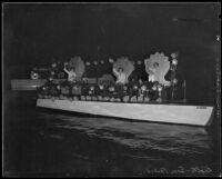 Illuminated boat during San Pedro's annual Fiesta, 1935