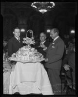Paul Hoffman, Mayor Frank Shaw, and W.J. Braunschweiger at luncheon, Los Angeles, 1935