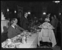 W.J. Braunschweiger, S.E. Gates, and Paul Hoffman at headtable, Los Angeles, 1935