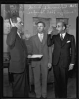 Edmund L. Smith swears in Carl Eardley and Hal Hughes as U.S. Attorneys, 1935