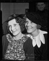 Sisters Ella Maria Lengel and Sarah Clark celebrate Lengel's divorce, Los Angeles, 1935