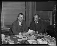 Grover Russell and C.W. Eastin meet over real estate commission business, Los Angeles, 1935