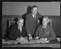 State code commissioners William G. Hale, Perry Evans, and T.C. Ridgway, Los Angeles, 1935