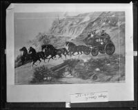 Illustration of horse-drawn Banning & Co. stagecoach with passengers, 1935