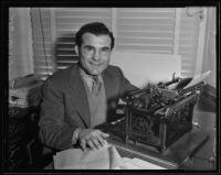 Former boxer, Fidel La Barba, becomes sportswriter, Los Angeles, 1935