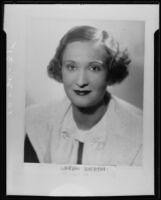 Portrait of Catherine Toberman for wedding announcement, Los Angeles, 1935