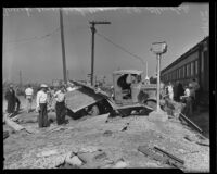 Totaled truck at train collision site, Glendale, 1935