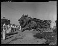 Derailed train becomes burrowed in ground in aftermath of collision, Glendale, 1935