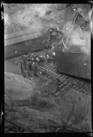Workers clean up aftermath of railroad accident, Tehachapi, 1937