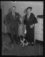 Prince and Princess Alexandre de Caraman-Chimay with their dogs, Los Angeles, 1935