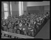 Audience at Los Angeles Times' First Annual Fashion Show, Los Angeles Times building, 1935