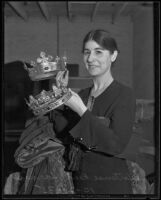 Hortense Harms with auction items from Shakespeare Guild of America, Los Angeles, 1935