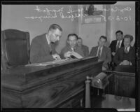 Wilfred Simpson, son of victim, and coroner Frank Monfort testify at inquest, Los Angeles, 1935