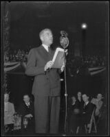 Rexford Guy Tugwell, U.S. Undersecretary of Agriculture, speaks at Olympic Auditorium, 1935