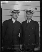 Central Airways pilots Paul Adams and John E. Tremayne in full uniform, Los Angeles, 1935