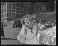 Womens Social Welfare Dept. float with nurses, children in Salvation Army parade, Los Angeles, 1935