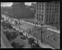 Salvation Army parade procedes outside the Times Building, Los Angeles, 1935