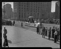 Salvation Army parade float outside the old State Building on Spring Street, Los Angeles, 1935