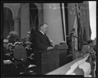 Mayor Frank L. Shaw speaks at Navy Day celebration on City Hall steps, Los Angeles, 1935