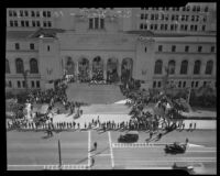 Elevated view of Navy Day commemoration at City Hall steps, Los Angeles, 1935