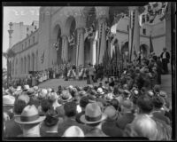 Ground-level view of Navy Day commemoration at City Hall steps, Los Angeles, 1935