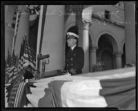 Judge Marshall McComb speaks at Navy Day commemoration at City Hall, Los Angeles, 1935