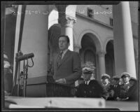 Aircraft industrialist Donald W. Douglas speaks at City Hall on Navy Day, Los Angeles, 1935