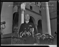 Rear-Admiral Wat Tyler Cluverius speaks at City Hall on Navy Day, Los Angeles, 1935
