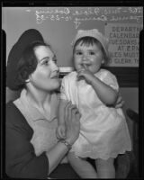 Flora Doering, mother, holds baby daughter Jeanne Doering, Los Angeles, 1935